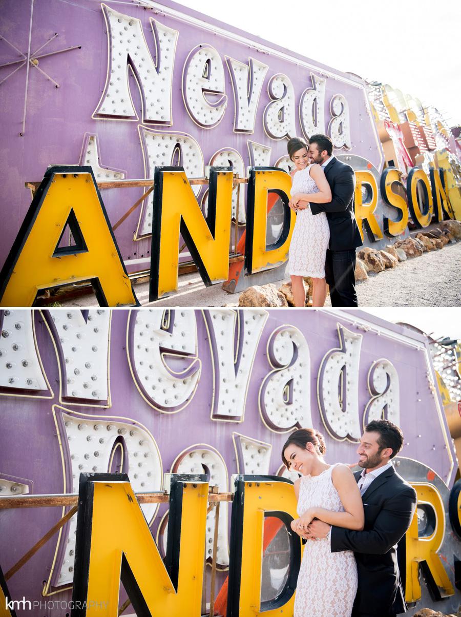 Neon Museum + Downtown Las Vegas Engagement Photography   KMH Photography