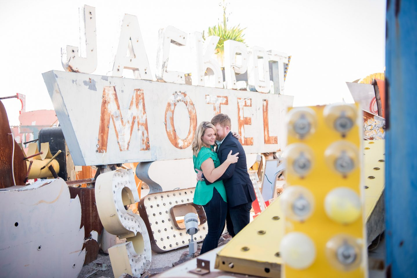 Neon Museum Engagement Session | Kristen Marie Weddings + Portraits