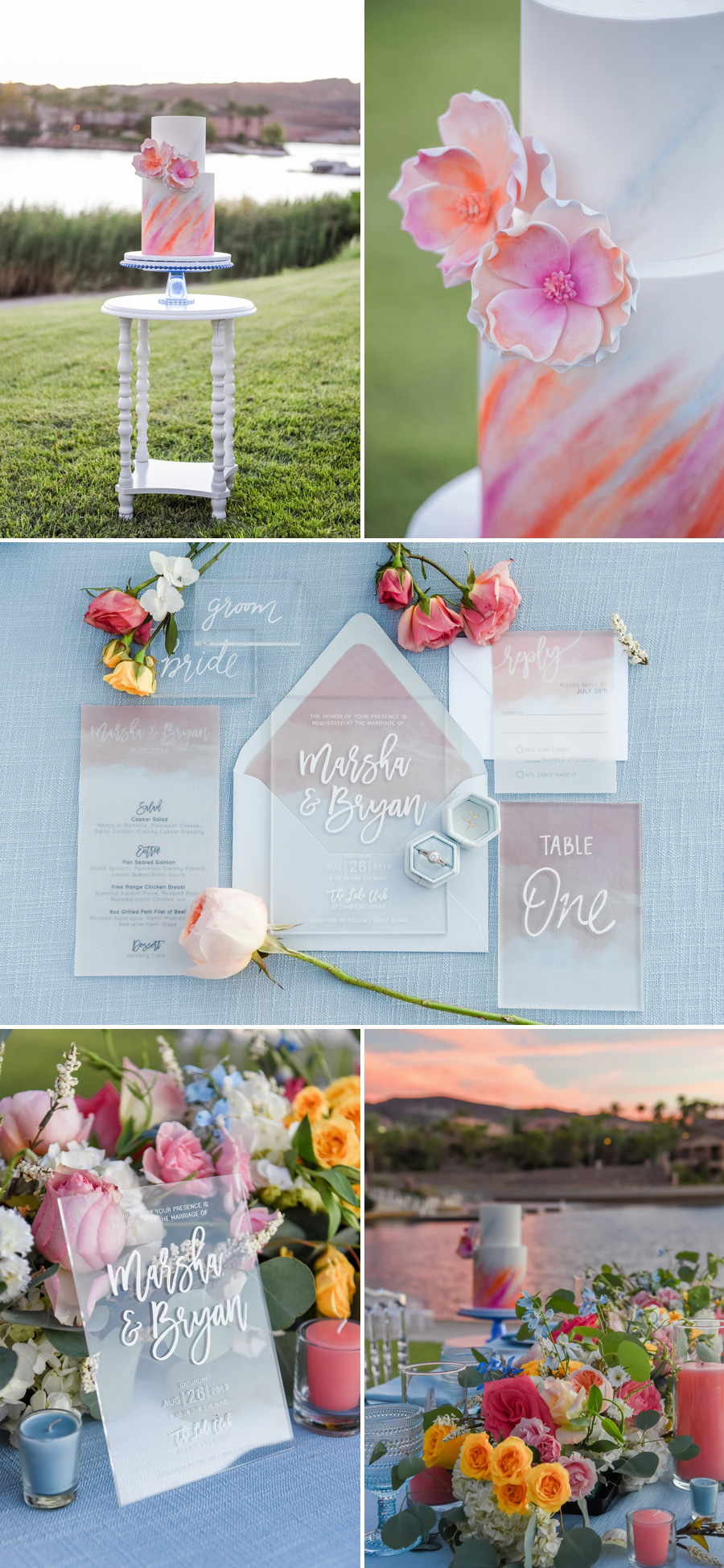 Lakeside Watercolor Wedding Inspiration | Kristen Marie Weddings + Portraits | Southshore Lake Club at Lake Las Vegas